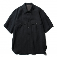 AURALEE / オーラリー | LINEN SILK SUMMER TWEED HALF SLEEVED SHIRTS - Black