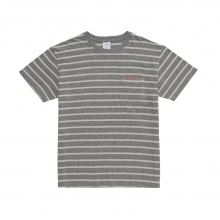 Mr.GENTLEMAN / ミスタージェントルマン | TISSUE BORDER MESH POKET TEE - Grey × White