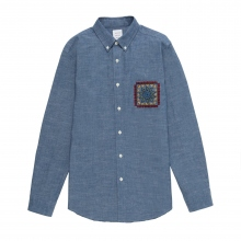 Mr.GENTLEMAN / ミスタージェントルマン | EMBROIDERED POCKET SHIRT - Chambray