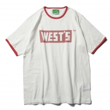 WESTOVERALLS / ウエストオーバーオールズ | WEST'S RINGER T-SHIRTS - White / Red