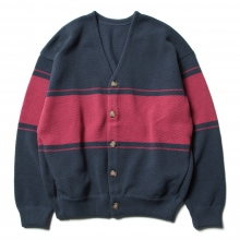 crepuscule / クレプスキュール | border moss stitch V/N cardigan - Navy×Red