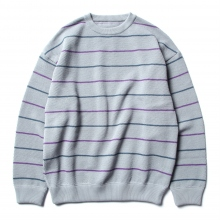 crepuscule / クレプスキュール | border moss stitch L/S sweat - Blue