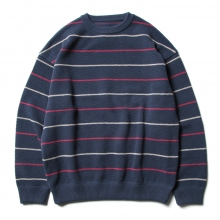 crepuscule / クレプスキュール | border moss stitch L/S sweat - Navy