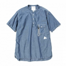 【Point 10% 4/28まで】and wander / アンドワンダー | PL dungaree short sleeve over shirt (M) - Blue
