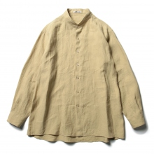 AURALEE / オーラリー | LINEN GABARDINE BAND COLLAR SHIRTS - Yellow Beige ☆