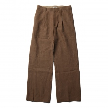 WASHED LINEN SLACKS - Brown