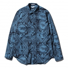 ENGINEERED GARMENTS | Short Collar Shirt - Ethnic Print - Blue / Navy