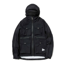 【Point 10% 4/28まで】and wander / アンドワンダー || 3L rip stop jacket - Black