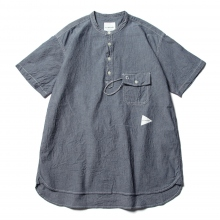and wander / アンドワンダー | CORDURA indigo chambray short sleeve shirt - Navy