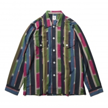 South2 West8 / サウスツーウエストエイト | Smokey Shirt - Cotton Cloth / Ikat Pattern - Nvy/Red/Grn