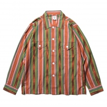 South2 West8 / サウスツーウエストエイト | Smokey Shirt - Cotton Cloth / Ikat Pattern - Brn/Grn/Pnk