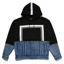 ELVIRA / エルビラ | HALF DENIM FRAME HOODY - Black