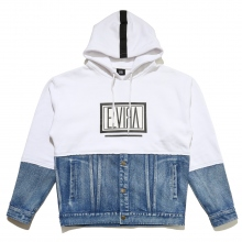 ELVIRA / エルビラ | HALF DENIM BOX HOODY - White