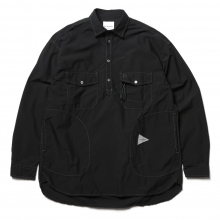 and wander / アンドワンダー | CORDURA typewriter long sleeve over shirt - Black