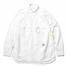 and wander / アンドワンダー | CORDURA typewriter long sleeve over shirt - White