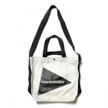 and wander / アンドワンダー | CORDURA big logo tote bag - White