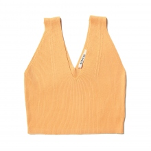 AURALEE / オーラリー | HIGH GAUGE RIB KNIT V-NECK TANK (レディース) - Orange Beige