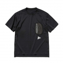 【Point 10% 4/28まで】and wander / アンドワンダー | polyester seamless T - Black