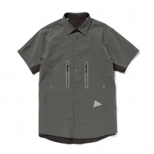 and wander / アンドワンダー | tech short sleeve shirt (M) - Charcoal