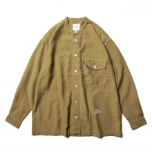 and wander / アンドワンダー | dry linen band collar shirt - Camel