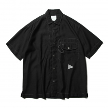 and wander / アンドワンダー | dry linen open collar shirt - Black