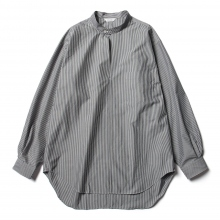WELLDER / ウェルダー | Buck Side Tucked Band Collar Pullover Shirt - Navy × White Stripe