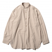 URU / ウル | STAND COLLAR L/S SHIRTS / COTTON PIN WEATHER - Brown
