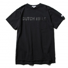 ENGINEERED GARMENTS / エンジニアドガーメンツ | Printed Cross Crew Neck T-shirt - Dutchkills - Navy