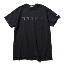 ENGINEERED GARMENTS / エンジニアドガーメンツ | Printed Cross Crew Neck T-shirt - 11101 - Navy