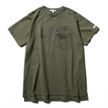 ENGINEERED GARMENTS / エンジニアドガーメンツ | Printed Cross Crew Neck T-shirt - LIC - Olive