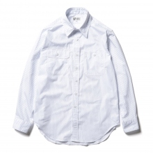 ENGINEERED GARMENTS / エンジニアドガーメンツ | Workaday Utility Shirt - Micro Polka Dot Broadcloth - White/Blue