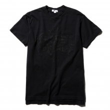 ENGINEERED GARMENTS | Printed Cross Crew Neck T-Shirt - Love & Music - Dk.Navy
