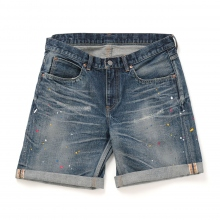 HABANOS / ハバノス | USED DENIM SHORTS - Indigo Paint
