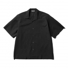 AURALEE / オーラリー | SELVEDGE WEATHER CLOTH OPEN COLLARED HALF SLEEVED SHIRTS - Ink Black
