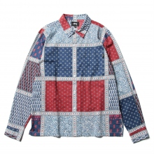 STUSSY / ステューシー | Paisley Patchwork LS Shirt - Blue