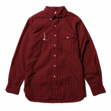 ....... RESEARCH | B.D. - 動物刺繍 Cotton Broad Check - Red ☆