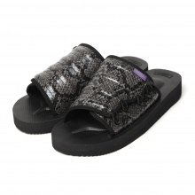 NEPENTHES | Suicoke × Purple Label - Elastic Strap Sandal w/A-B Vibram - Python Embossed - Black