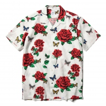 BEDWIN / ベドウィン | S/S OPEN COLLAR ORG ALOHA SHIRT 「ROGERS」 - White