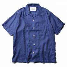 ....... RESEARCH | Open Collar S/S - 動物刺繍 Cotton Satin - Blue