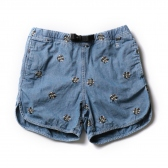 HABANOS / ハバノス|CHAMBRAY CAMO-FLOWER SHORTS - Used Indigo