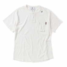 HABANOS / ハバノス | MILITARY COTTON H-NECK S/SL Tee - White