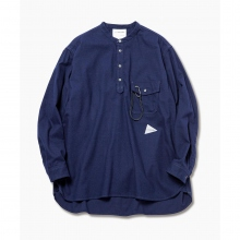and wander / アンドワンダー | thermo nell stand collar shirt (M) - Navy