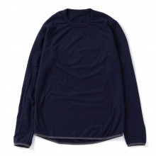and wander / アンドワンダー | wool crew neck T - Navy