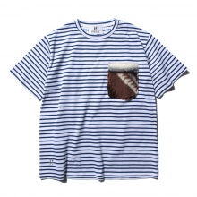 HABANOS / ハバノス | BOA-POCKET BORDER  S/SL Tee - Blue