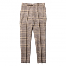 WOOL SERGE CHECK NARROW SLACKS - Beige Glen Check