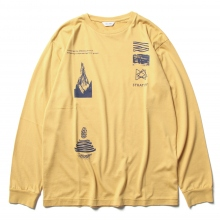 WELLDER / ウェルダー | Regular Fit Long Sleeve T-Shirts (STRATIFY Concept Print) - Mustard