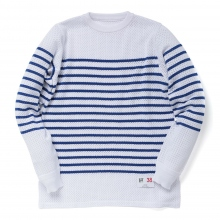 HABANOS / ハバノス | SPORTS MESH-BORDER KNIT - White × Blue