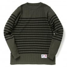 HABANOS / ハバノス | SPORTS MESH-BORDER KNIT - Olive × Black
