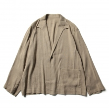 URU / ウル | LINEN SILK TWILL / 1 BUTTON SHIRTS JACKET - Beige
