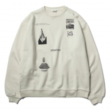 WELLDER / ウェルダー | Wide Fit Crewneck (STRATIFY Concept Print & Embroidery) - Pearl